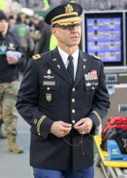 USMA Chaplain prays during Army-Navy Game